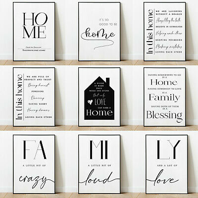 Home And Family Art Prints Posters Wall Decor Modern Style Minimalism Typography • 3.99£