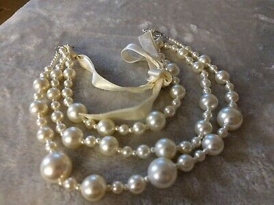 Three Stranded Faux Pearl Necklace With Ribbon Unbranded • 1.50£