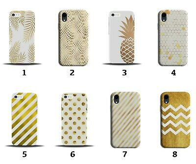 £9.99 • Buy White And Gold Phone Case Cover Golden Pineapple Stripes Print Animal Skin 8115d
