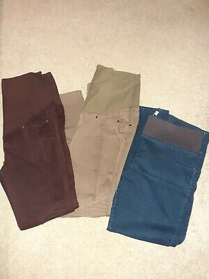 Maternity Bundle Of Trousers Jeans Size 12 X 2 Pairs And 1x Size 14 Blue Jean  • 4.50£