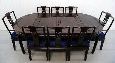 £1450 • Buy Extendable Chinese Teak Table With Two Leaves & Set Of Eight Chairs Two Carvers