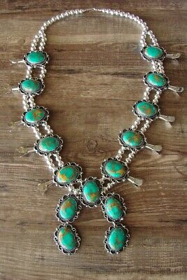 $ CDN469.41 • Buy Navajo Jewelry Turquoise Squash Blossom Necklace By Jackie Cleveland