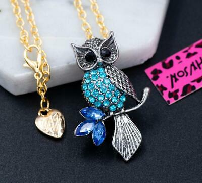 $ CDN1.25 • Buy New Betsey Johnson Silver Crystal Owl Pendant Necklace Chain Brooch Jewelry