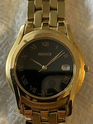 AU475 • Buy Gucci Watch 5400m Gold Black Dial Face Mens