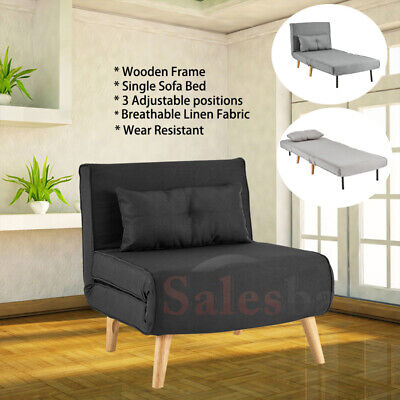 AU229.99 • Buy Wooden Frame Linen Sofa Bed Comfortable Chair Single Seater Adjustable 3 Colors