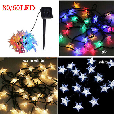 30/60 LED Star Fairy String Lights Garden Outdoor Solar Powered Party Waterproof • 9.84£