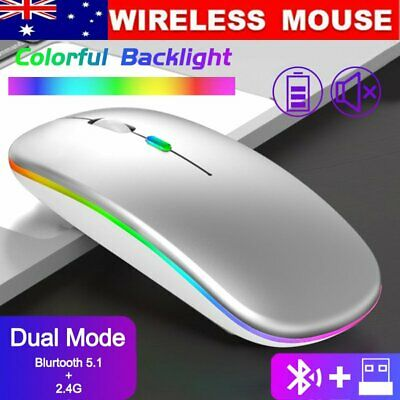 AU13.74 • Buy AU Rechargeable Slim Wireless Mouse Bluetooth 5.1+ 2.4G Cordless For Laptop PC