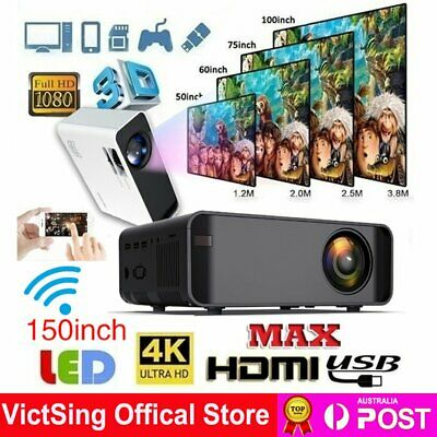 AU147.88 • Buy 22000 Lumens 1080P HD Android Bluetooth Projector 4k WiFi Home Theatre Cinema AU