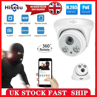 5MP POE IP Camera 1920P HD Indoor Night Vision Security Dome Audio Network CCTV • 26.88£