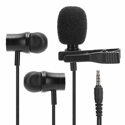 £5.18 • Buy 3.5mm Wired Earphone Clip On Microphone Lavaliver Lapel Mic Headset Headphone SS