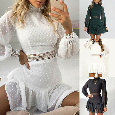 Womens Lace Ruffle Frill Mini Dress Ladies Summer Evening Party Cocktail Dresses • 12.69£