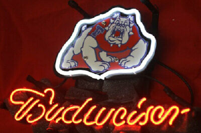 $ CDN99.73 • Buy NCAA Fresno State Bulldog Budweiser Beer Bar Club Pub Store Shop Neon Light Sign