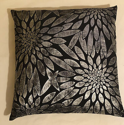 £5 • Buy XL Dunelm Mill Black Silver Floral Cushion Double Sided 50cm