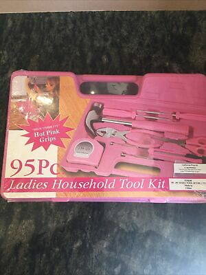 95 Piece Ladies Household Tool Kit Hot Pink Grips  New • 24.32£