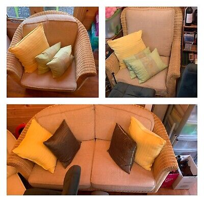 Conservatory Sofa And Two Chair Set, Love Seat, Cane Wicker, Cushions 3 Piece • 130£