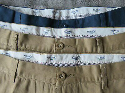 3 Pairs Atlantic Bay/bhs Chinos Beige/navy W38/l29 - For Greyhound Rescue • 10£