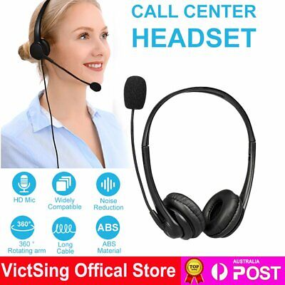 AU25.99 • Buy USB Wired Headset Microphone Noise Cancelling Headphones For Gaming Computer PC