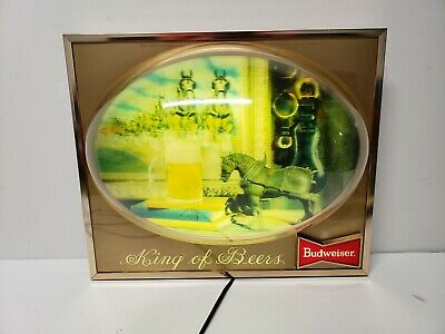 $ CDN215.16 • Buy Rare Budweiser Clydesdale Horse Lighted Sign 3d Bubble Dome Display King Of Beer