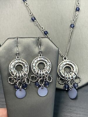 $ CDN31.18 • Buy Lia Sophia Blue MOP Silver Tone Pierces Drop Dangle Earrings Necklace  18""