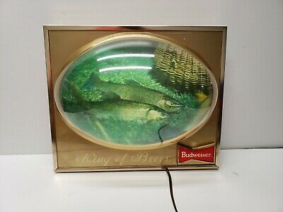 $ CDN164.13 • Buy Budweiser Beer Lighted Trout Fish Sign 3d Bubble Dome Vintage Bar Display King