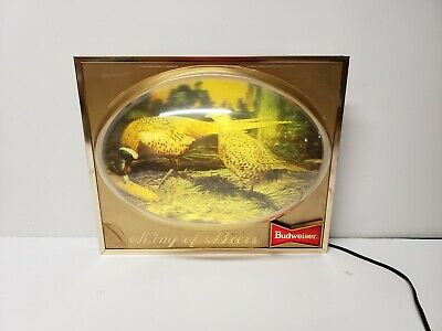 $ CDN126.25 • Buy Budweiser Beer Pheasant Lighted Bubble Sign 3D Dome Display King Bowtie Vintage