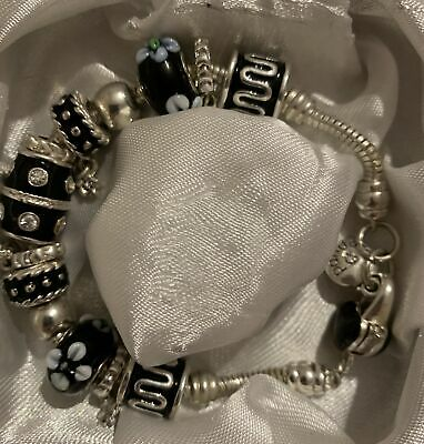 AU85 • Buy Pandora Bracelet Authentic With Some Faux And Real Beads Beautiful 21.5 Cms Long