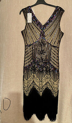 £23.50 • Buy BNWL Embellished Charleston Dress New With Tags Size L