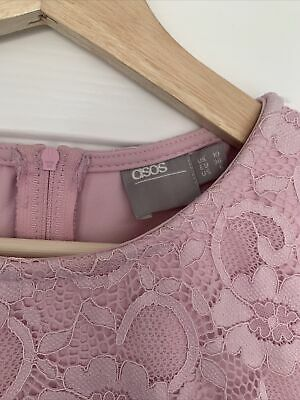 Womens Pink Midi ASOS Lace Patterned Dress With Lace Hem And Slit UK Size 10 • 11.99£