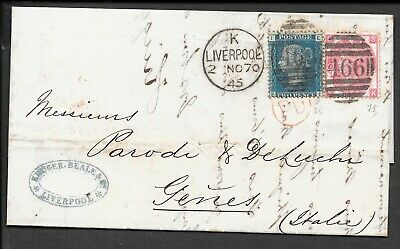 LANCASHIRE 1870 ENTIRE TO ITALY 2d BLUE PLATE 13 3d ROSE PLATE 5 466 DUPLEX  • 19.99£