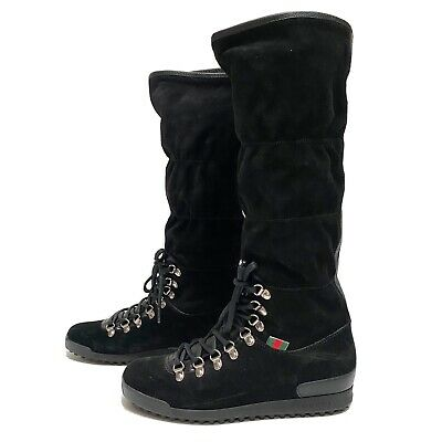 Women's Gucci Tall Hiking Boots, Black Suede, Fur Lined, 37 • 569.91£