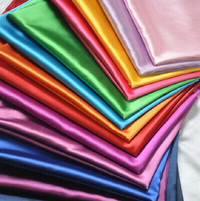 £2.85 • Buy Silky Satin Dress Craft Fabric Plain Luxury Wedding Material 41 Colours 60  Wide