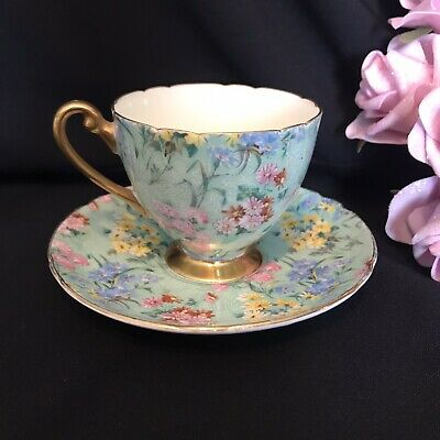 £58.15 • Buy Shelley England Melody Chintz Ripon Tea Cup & Saucer Display Only Chip