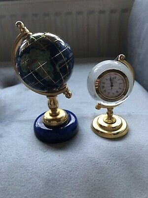 2 World Mini Globes One In Crystal With Clock, One In Lazulite Lapis • 30£