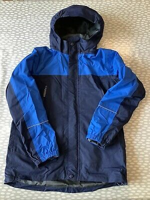 Boys Blue Peter Storm Waterproof Coat Jacket With Packaway Hood Age 13 • 4£