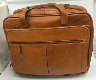 Tan Brown Leather Multi Compartment Handled Satchel Laptop Wheeled Bag #146 • 6.99£