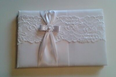 MINAS Satin & Lace Wedding Guest Book Guest Signing Book  • 8£