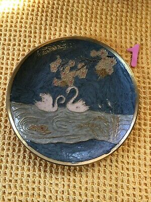 Vintage Indian Enamelled Swan Wall Plate • 14.99£