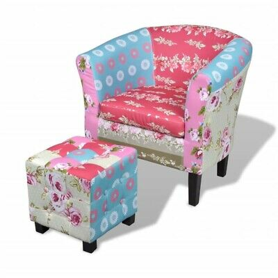 AU255.95 • Buy New Armchair With Footstool Patchwork Design Fabric