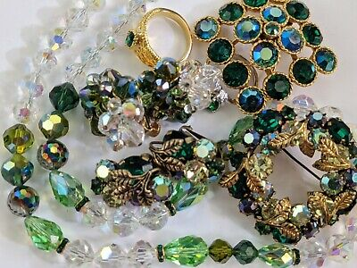 $ CDN73.21 • Buy Vintage Jewelry Lot Rhinestones Signed Weiss Austria Vendome Green Crystals Nice