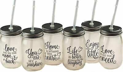 6 Happy Quote Drinking Mason Glass Jars With Lid And Reusable Straw • 13.99£