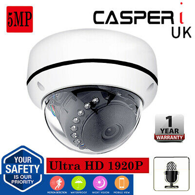 CASPERi 5MP POE IP Camera HD Indoor Night Vision Security Dome Audio Network • 65.99£