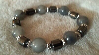 Grey Beaded Stretch Bracelet Unbranded • 0.99£