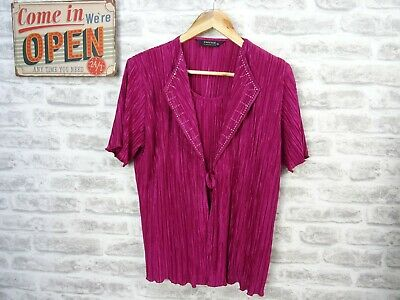 £12.99 • Buy FOREVER By MICHAEL GOLD Top Blouse Vintage Crinkle Overlay Pink Size L/XL   T812