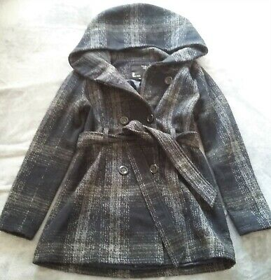 Womans Hooded Warm Check Coat/parka With Wool&acrylic Fits Size10-12,tally Weijl • 2.50£