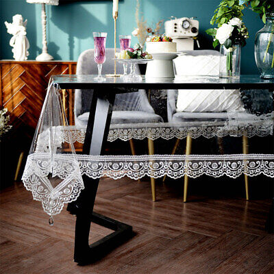 AU73.62 • Buy TPU Transparent Waterproof Dining Table Cloth Plastic Rectangle Lace Table Cover