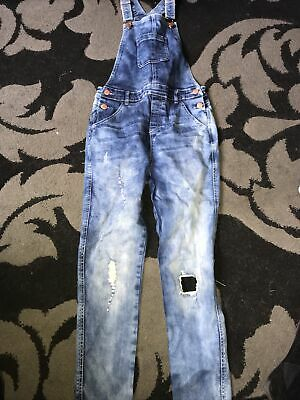 Aged 12-13 Years Primark Jeans Dungarees Ripped Panels  • 7.50£
