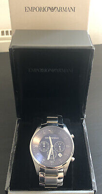 Mens Silver Emporio Armani Watch AR5860 - Stainless Steel, Blue Dial With Box • 60£
