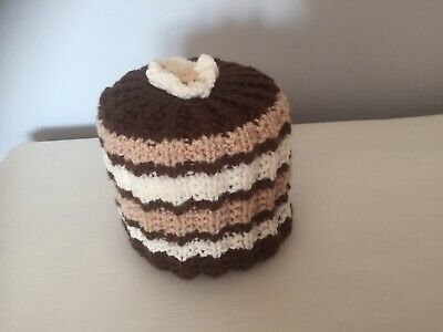 £4.50 • Buy Hand Knitted Brown, Cream, Beige  Toilet Roll Cover