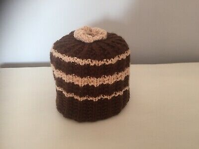 £4.50 • Buy Hand Knitted Brown & Beige  Toilet Roll Cover