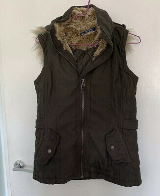 Peter Storm Padded Gilet Ladies Size 12/EUR 38 Brown With Removable Fur Trim • 1.99£